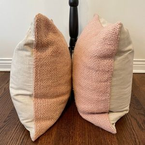 Pottery Barn Cream & Blush Pink Pillow Covers (2)